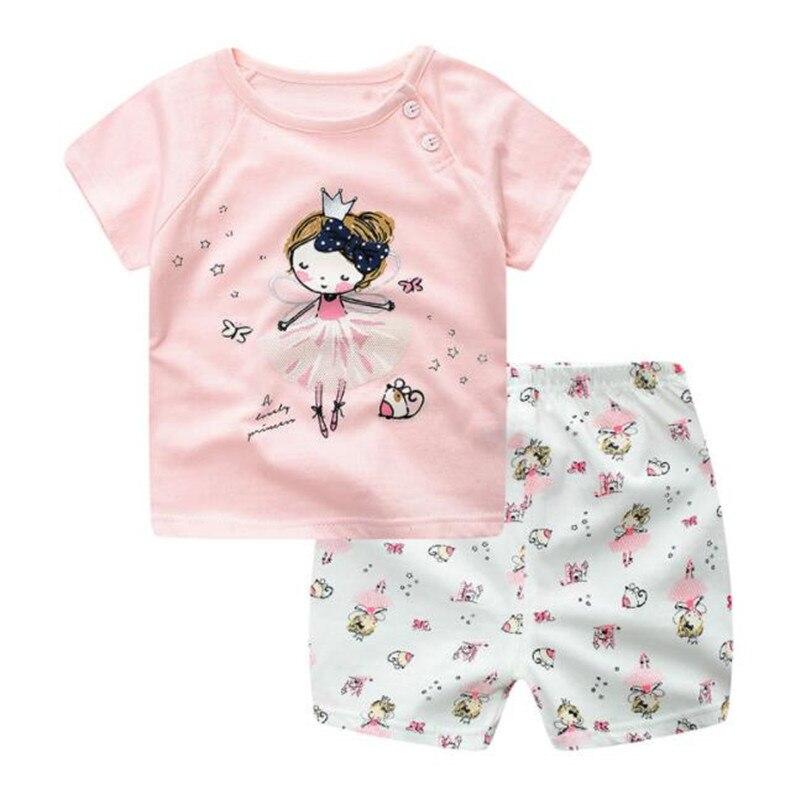 Funfeliz Baby Girl Dresy Letnie Dziewczyny Dresy Casual Z Krótkim - Ubrania dziecięce - Zdjęcie 2