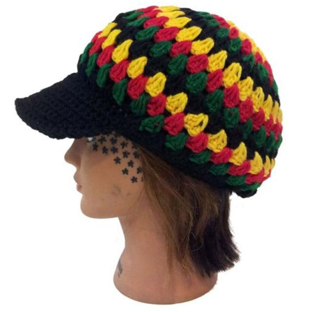 Wholesales Knitted Jamaican Multi-colors Hat Reggae Rasta Handmade Crochet  Fancy Dress Costume Hollow Flower Visor Peaked Cap c539e515e400