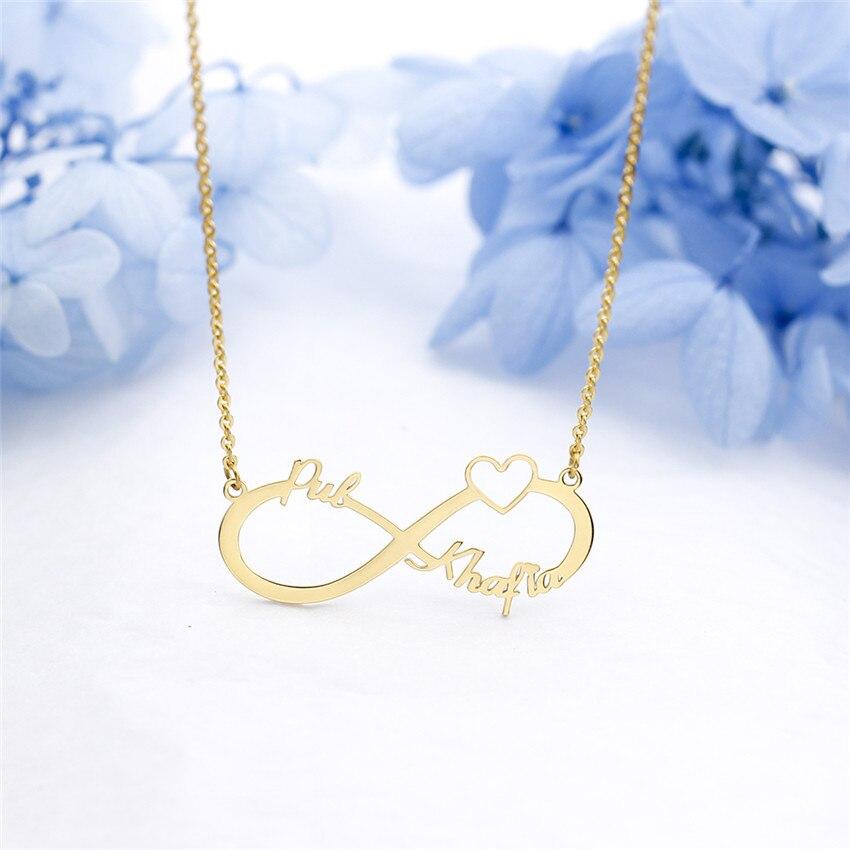92bf0370a1c7 Amor infinito pareja nombre placa colgante collar para mujeres chicas acero  abierto corazón personalizado BFF cumpleaños regalo