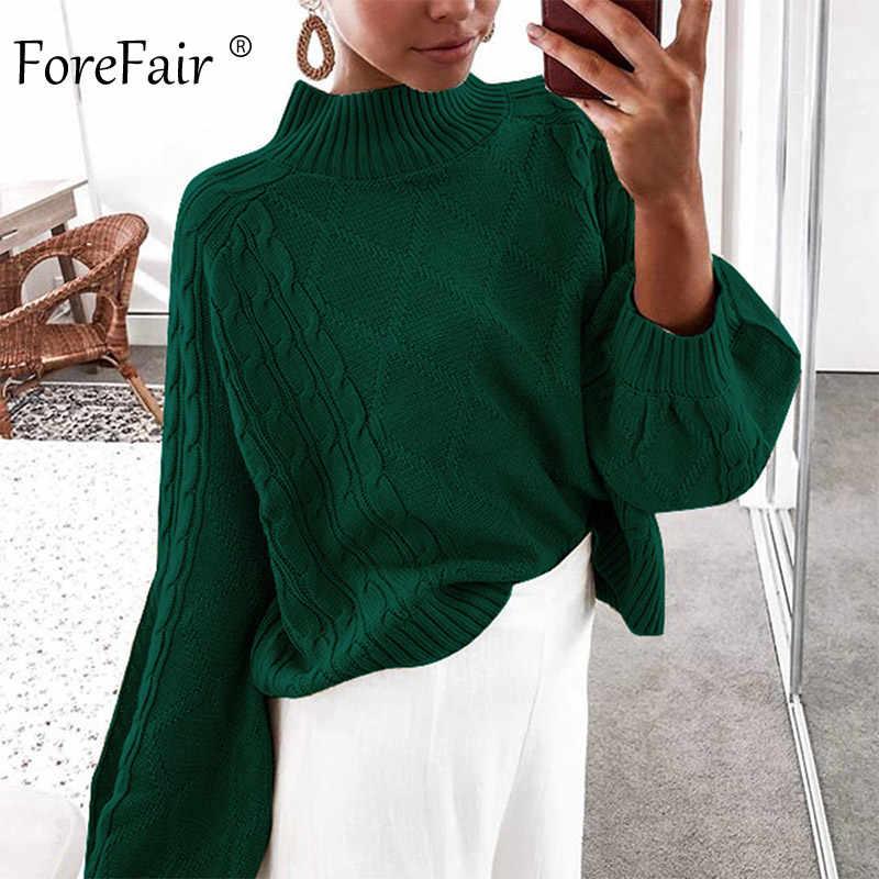 Forefair invierno de cuello alto suéter de punto de mujer Otoño de 2019 manga linterna de talla grande Jersey ocasionales sólido jerseys de gran tamaño