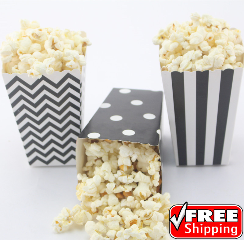 36pcs Mix 3 Designs Black Striped Polka Dot Chevron Paper Popcorn Boxes Kids Movie Theater Party Favor Candy Snack Treat Buckets Favor Gift Candy Favorfavor Wrapping Aliexpress