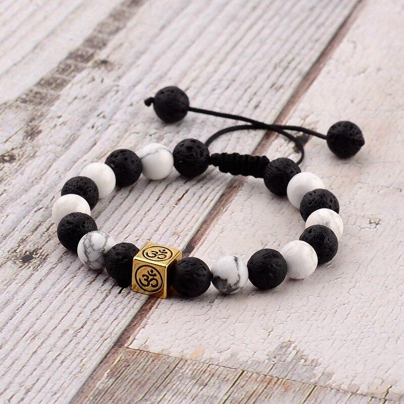 Amader Charm Religion Retro Bead Woven Bracelet Men Natural LavaWhite Stone Chakra Bracelets Erkek Bileklik Gift ABK029