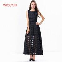 WICCON Maxi Estate Plaid Vestito Delle Donne Nuovo Lungo Organza Giorno Dress Abiti Da Festa Raso di Stile di Modo Donne Bianche Nere abiti