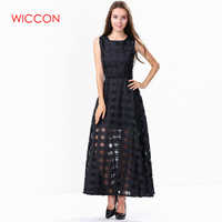 WICCON Maxi Summer Plaid Women Dress New Long Organza Day Dress Vestidos De Festa Satin Fashion