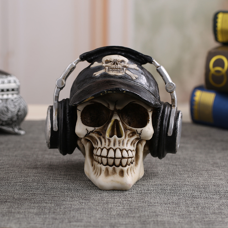 MRZOOT Resin Craft Statues For Decoration Skull Wearing Headphones Music Bar Decoration Creative Skull