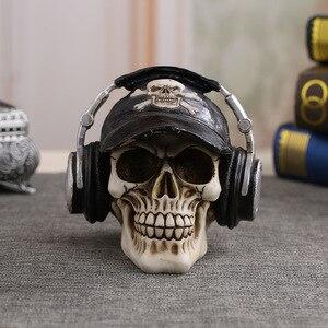 Image 1 - MRZOOT estatuas artesanales de resina para decoración, calavera con auriculares, decoración de barras de música, Calavera creativa