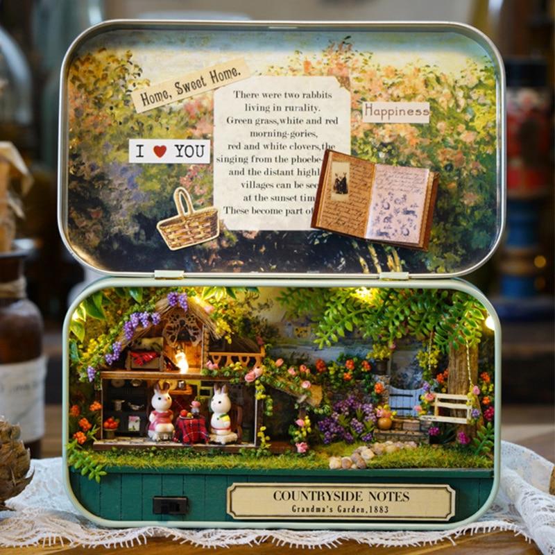 DIY Model Kits Miniatura Dollhouse BOX THEATRE with Iron Box 1 12 Small Toy House Secret