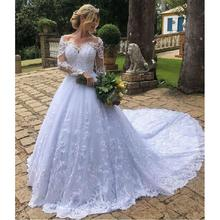 ELNORBRIDAL Long Sleeve Wedding Dresses 2019 Bride Dress