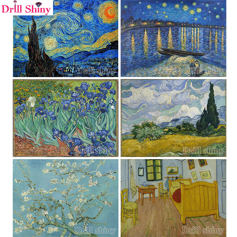 Full Square/Round Drill 5D DIY Diamond Painting starry night Vincent Van Gogh 3D scenery diamond Embroidery Cross Stitch MosaicFull Square/Round Drill 5D DIY Diamond Painting starry night Vincent Van Gogh 3D scenery diamond Embroidery Cross Stitch Mosaic