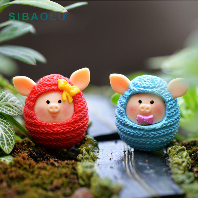 Lover Piggie Figurines Miniatures Woolen Pig Fairy Garden Ornament home Wedding Decoration Terrariums Resin Crafts toy TNS111