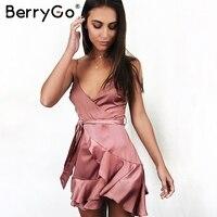BerryGo Sexy v neck stain short dress women Elegant ruffle bow summer dress femme 2018 Spring casual strap beach dress vestidos