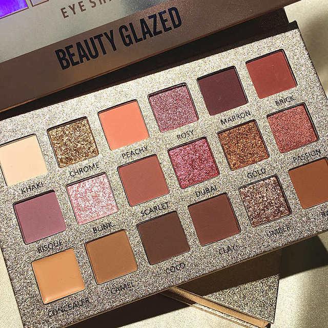 Beauty Glazed 18Colors Nude Eyeshadow Makeup Pigments Waterproof Professional Shimmer Glitter Nude Eye shadow Make up Palette 1