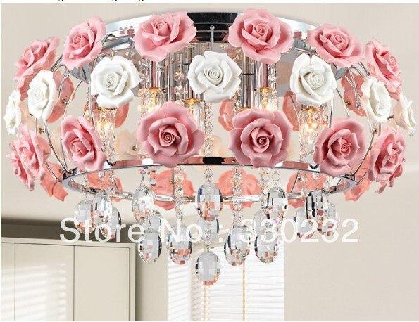 Lampadario Rosa Cristallo : Moderno a forma di fiore di vetro lampadario di cristallo