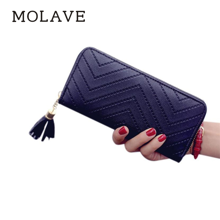 MOLAVE wallets	wallet female Solid card holder Zipper Women Lady Leather Card Holder Long Wallet Clutch Tassel Handbag Purs Feb9 casual weaving design card holder handbag hasp wallet for women