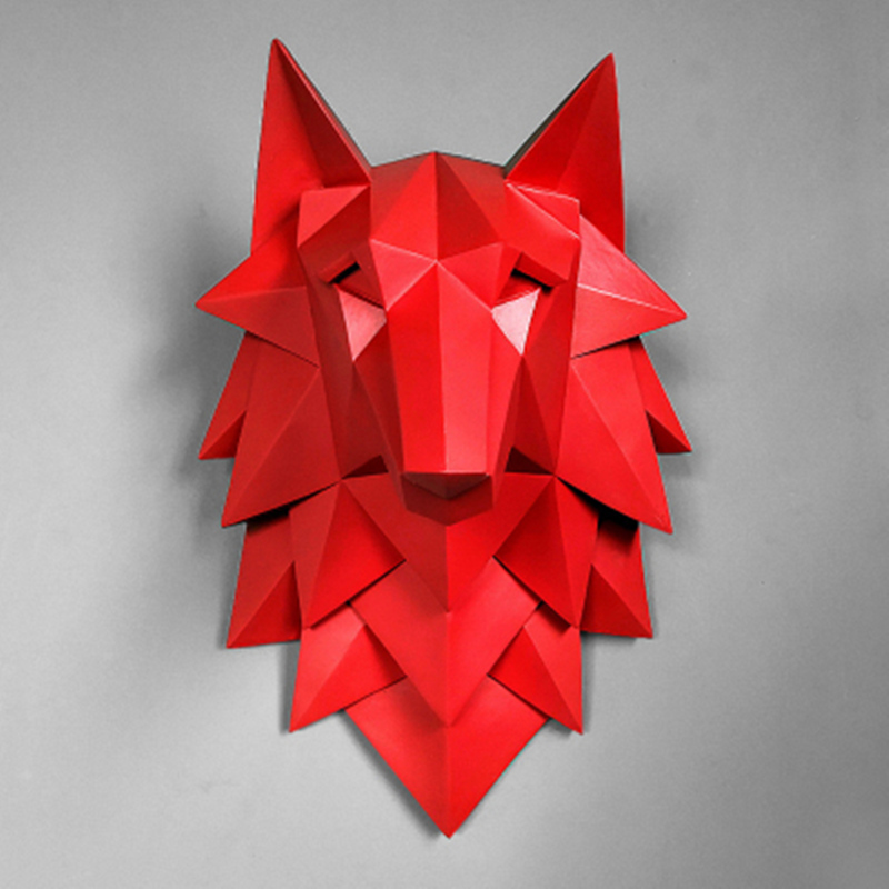 Geometry 3D Wolf Head Wall Decoration Hanging Wall Animal Head Resin Pendant Resin Wall Ornaments Home