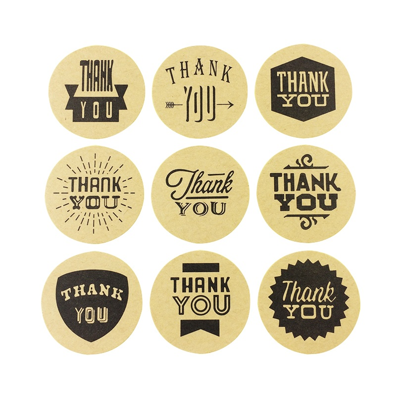 90pcs/lot THANK YOU 9 Design Mixed Kraft Paper Seal Sticker Bakery Cake Paper Packaging Label