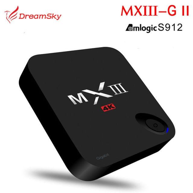 Amlogic mxiii-g ii S912 Octa Core Android 6.0 TV Box 2 GB/16 GB Dual WIFI BT4.0 KODI H.265 MXIII-G Actualización 4 K Medios jugador