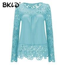 58e5d85c50a5c 2018 shirts Women Blouses Lace Renda Floral Casual O-neck Plus Size Tops  Blusas Femininas