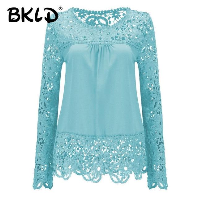 a1cf4604718345 2018 shirts Women Blouses Lace Renda Floral Casual O-neck Plus Size Tops  Blusas Femininas women s blouse large size dressy Blusa