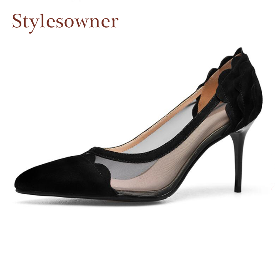 Здесь продается  Stylesowner sexy black pink air mesh patchwork single shoes for women pointed toe thin high heel suede dress party shoes pumps  Обувь