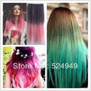 Fashion women long straight wig gradient style false color hair fashion women long straight wig gradient style false color hair extension ponytail on aliexpress alibaba group pmusecretfo Image collections