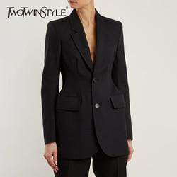 Twotwinstyle Solid Blazer Voor Vrouwen Notched Kraag Lange Mouwen Single Breasted Slim Jas Vrouwelijke Mode Elegante Zomer 2020