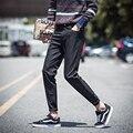 2016 verão nova moda coreano roupas masculinas meados de cintura cor sólida de poliéster botão bolsos heavyweight lápis fino calças compridas