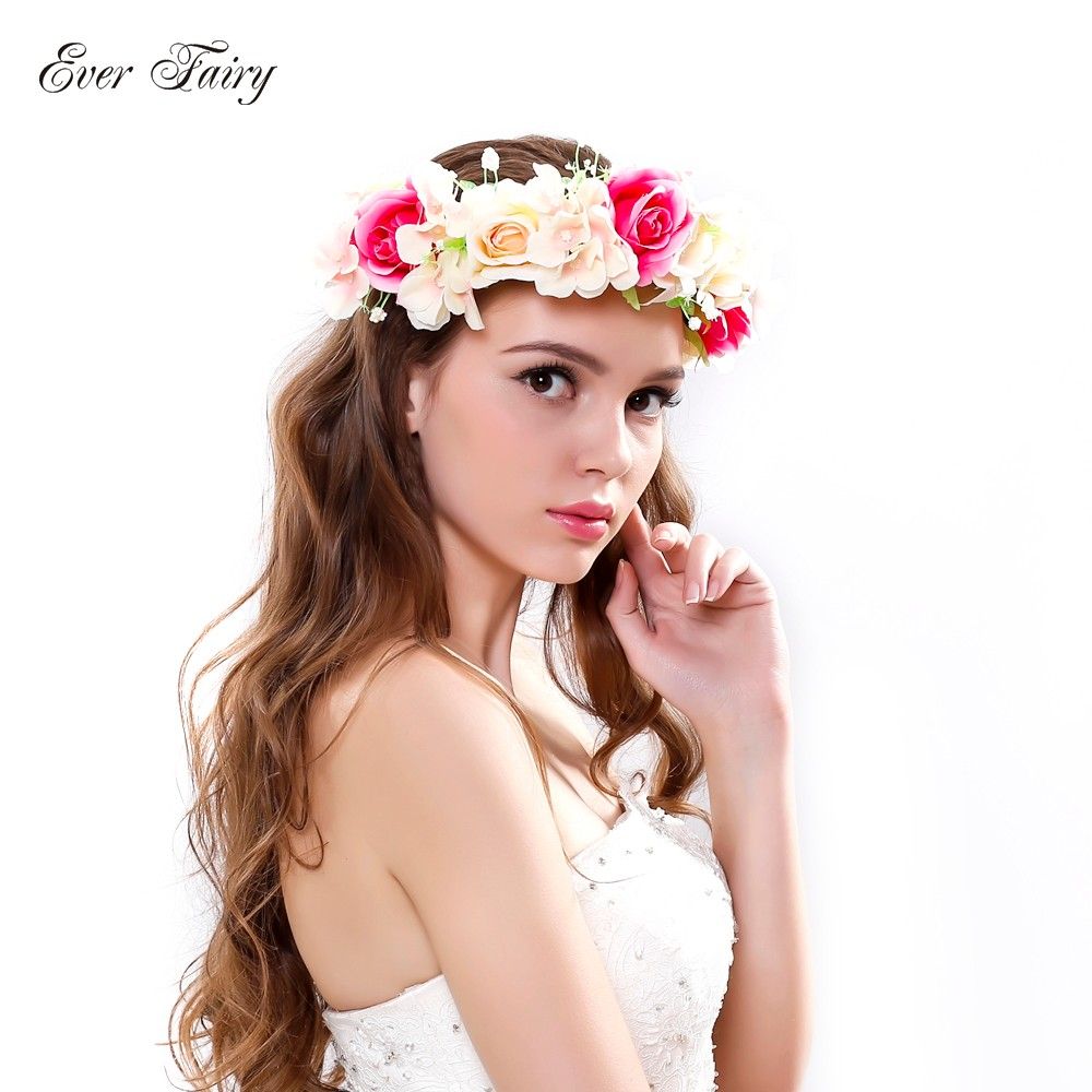 Ever Fairy New Women Rose Flower Crown Headband Hair Band Bridal