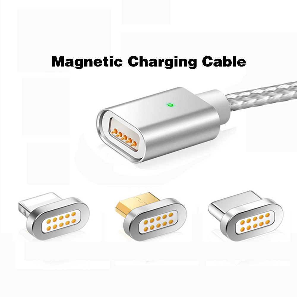 Kabel F-Line Usb Tipe C Cable & Micro USB Kabel Nilon Dikepang Indikator LED Sinkronisasi Data 2.4A nilon Magnet Kabel Charger