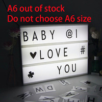 Led Letter Lamp A6 A5 A4 Size DIY Plastic Light Box With 85 Letters Plasic Lightbox