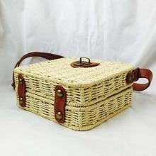 Womens single shoulder diagonal package luxury rattan Messenger bag leather handmade woven 2019 New summer beach