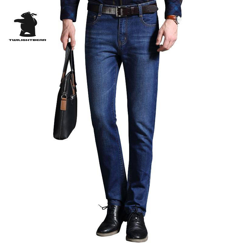 2016 New Men s Jeans Autumn Designer Fashion Plus Size Business Embroidery Straight Jeans For Men