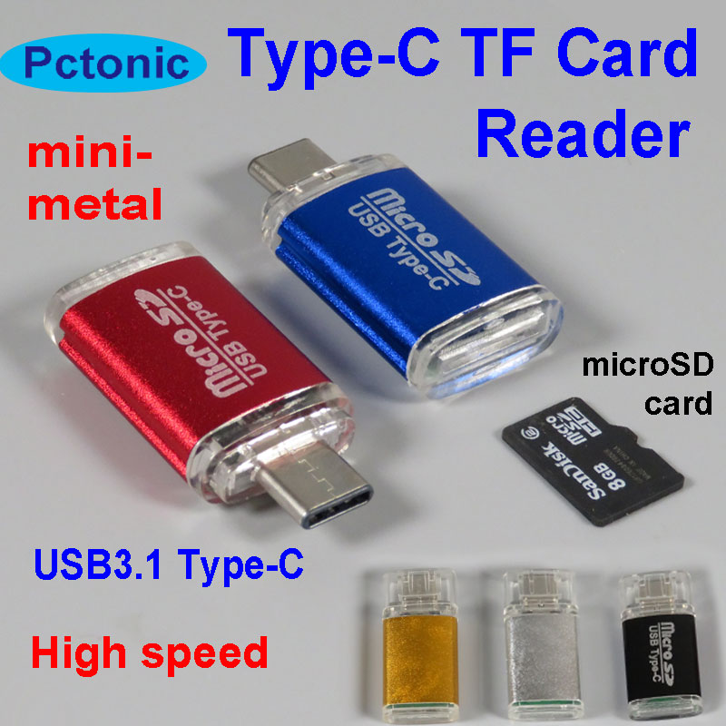 PCTONIC USB3.1 Type-C TF OTG adapter micro SD TF high speed microSD Card for macbook type C mobile phone