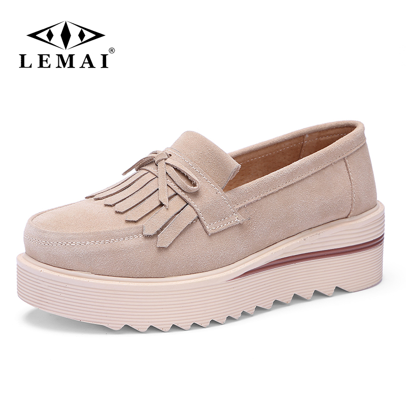 LEMAI Autumn Flat Platform Women Shoes   Leather     Suede   Tassel Slip on Loafers Flat Shoes Woman Moccains Casual Creepers Shoes