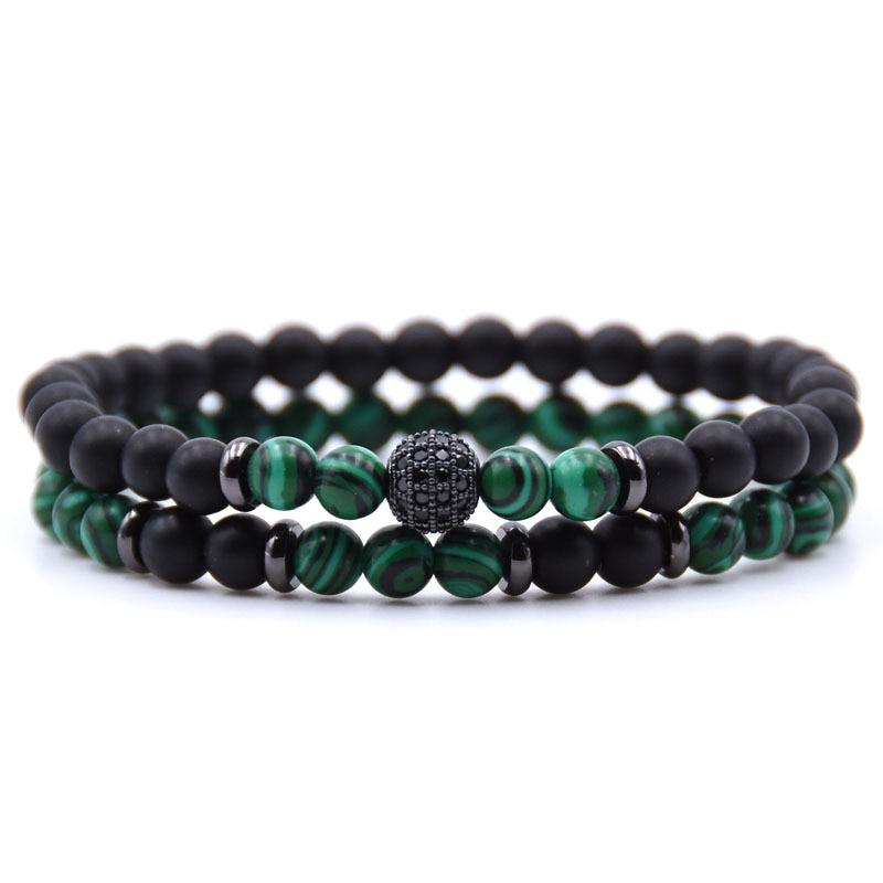 2pc/sets Natural Stone Elastic Bracelet Micro Pave CZ Disco Ball Matte Charms Beads Bracelets for Women Men Yoga Jewelry