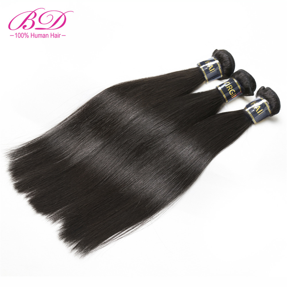 BD HAIR Unprocessed Brazilian Virgin Hair Straight Human Hair Weaves 1Pc/lot Can Buy 3 Or 4 Bundles Natural Color Can Be Dyed