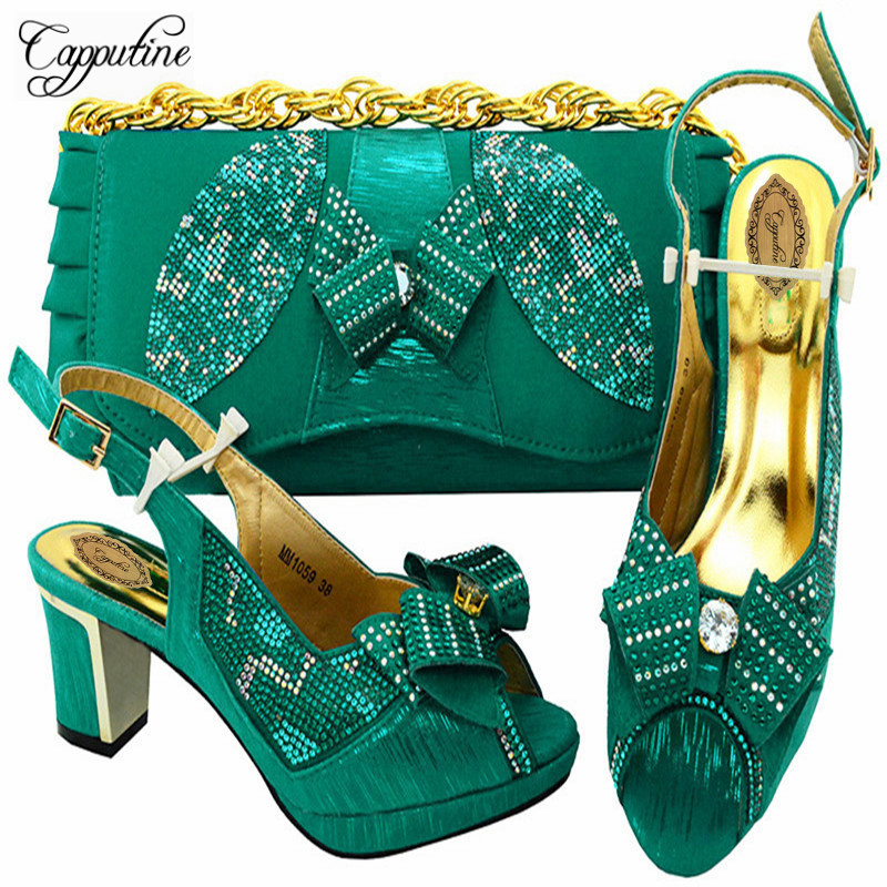 Capputine Latest Design 2018 Wedding Italian Shoes And Matching Bag Set Wedding And Party African Shoes With Bag Set M10595 african fashion shoes with matching bag set for wedding party italian design nigeria women pumps shoes and bags mm1060