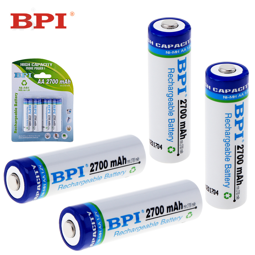 4pcs! BPI 1.2V 2700mAh AA NiMh Battery Ni-Mh LSD Rechargeable Battery with 1C Discharge  ...