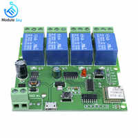 4-Way WiFi Relay Module Phone APP Control Switch Jog Inching Self-locking  wireless module board DC 5V-32V for Smart Home