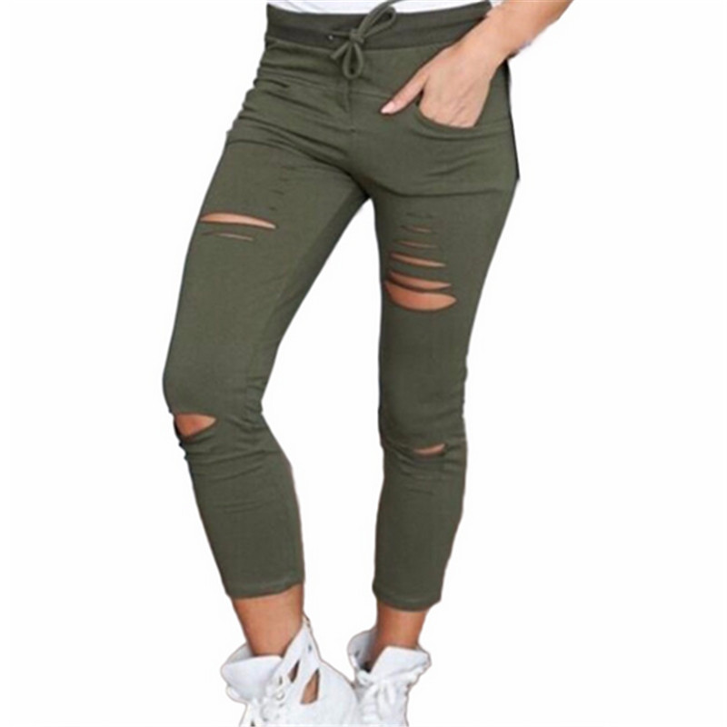 2019 Fashion Cotton Hole Pencil   Pants   Women Skinny Nine Points   Pants   High Waist Stretch Jeans Women Slim Pencil Trousers   Capris