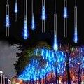 RGBY Azul Branco 50 CM 240LED chuva de Meteoros Chuva Tubo de AC110-220V Luz Cordas Luzes De Natal Festa de Casamento Garden 8 pçs/set