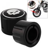 1 Pair Aluminum Durable Motorcycle Front Axle Nut Cover With Skull Pattern And Screws For Harley