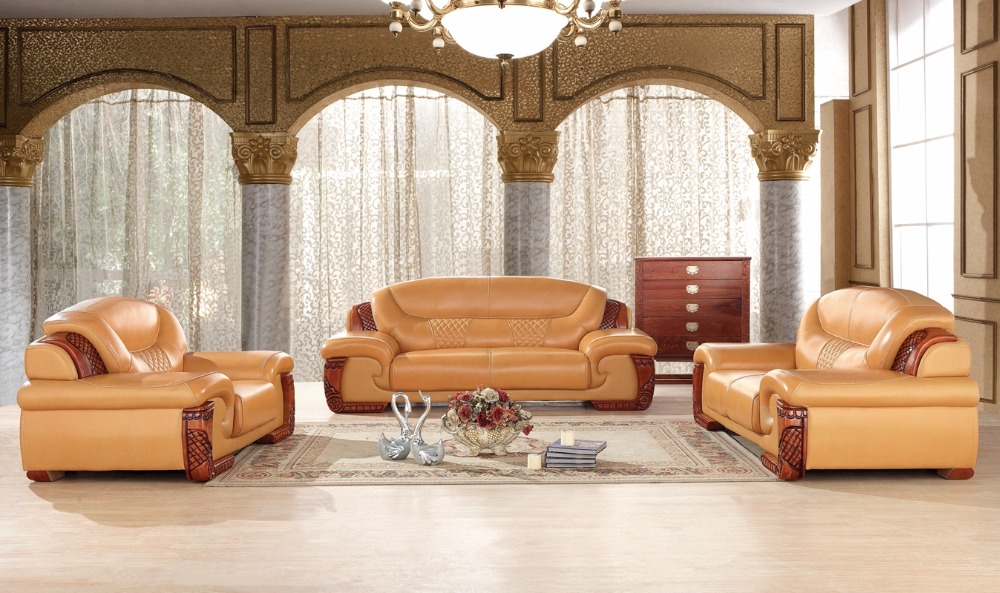 Antique European Chesterfield Leather Sofa Set Living Room