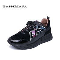 BASSIRIANA 2019 New Leather Flat Shoes Ladies Shoes Russian Size Casual Shoes for Women Black Print Size 35 40