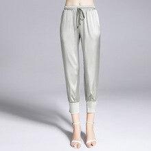 Mulberry silk heavy fancy crepe pants lace elastic waist slim thin pencil ankle-length casual pants1810028