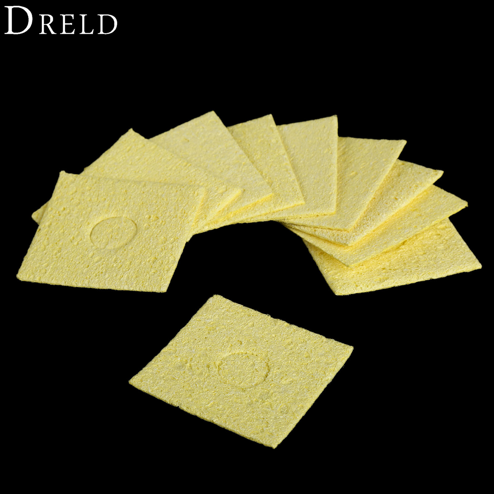 DRELD 10pcs Electric Soldering Iron Solder Tip Welding Cleaning Sponge Yellow High Temperature Enduring Clean Tools 55x55x2mm