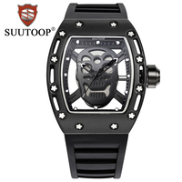 2018 New SUUTOOP Men Hollow Analog Quartz Watch Military Silicone Rubber Waterproof Business Man Wrist Watches
