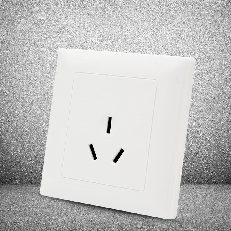1pcs-yt1810-white-socket-panel-16a-250v-three-hole-socket-86-86mm-flush-receptacle-wall-socket-free-shipping