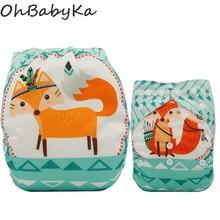 Ohbabyka Baby Nappy Diapers Unicornio Position Print Pocket Diaper Nappies Size Adjustable Reusable Cloth Cover