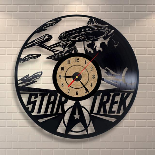 2017 New Star Trek Vinyl Record Wall Clock  Classic Clocks Saat Horloge Murale Relogio De Parede Wall Clock klok